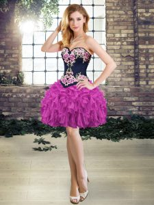Customized Purple Lace Up Sweetheart Embroidery and Ruffles Club Wear Organza Sleeveless