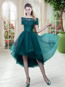 Extravagant Short Sleeves High Low Lace Lace Up Club Wear with Peacock Green