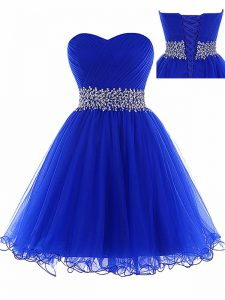Superior Ruching Cocktail Dresses Royal Blue Lace Up Sleeveless Mini Length