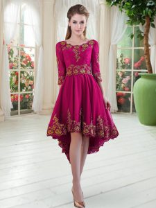 Fuchsia A-line Satin Scoop Long Sleeves Embroidery High Low Lace Up Club Wear