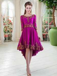On Sale Scoop Long Sleeves Cocktail Dresses High Low Embroidery Purple Tulle