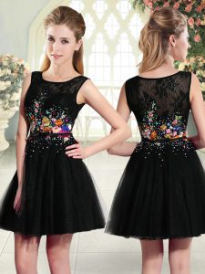 Beauteous Beading and Embroidery Club Wear Black Side Zipper Sleeveless Mini Length