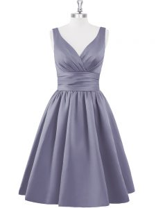 Sleeveless Satin Knee Length Zipper Cocktail Dresses in Grey with Ruching