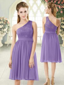 Lavender Chiffon Side Zipper One Shoulder Sleeveless Knee Length Cocktail Dresses Lace