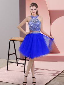 Knee Length Backless Club Wear Royal Blue for Prom and Party with Beading