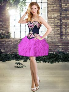Hot Sale Purple Lace Up Sweetheart Sleeveless Mini Length Red Carpet Gowns Embroidery and Ruffles
