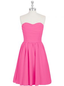 Mini Length Zipper Oscars Dresses Hot Pink for Prom and Party with Ruching and Pleated