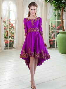 Superior Scoop Long Sleeves Cocktail Dresses High Low Embroidery Purple Satin