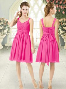 Chiffon Straps Sleeveless Zipper Ruching Cocktail Dresses in Hot Pink