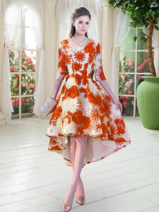 Comfortable High Low A-line Half Sleeves Orange Red Cocktail Dress Lace Up