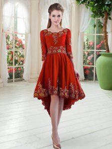 Red Long Sleeves Embroidery High Low Oscars Dresses