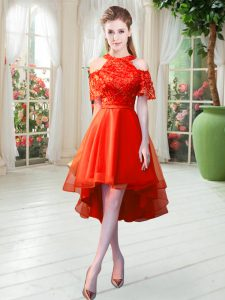Fabulous Short Sleeves Tulle High Low Zipper Cocktail Dresses in Rust Red with Lace