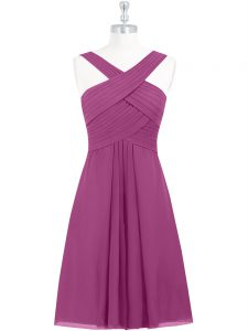 Stylish Fuchsia Chiffon Zipper Straps Sleeveless Knee Length Cocktail Dresses Pleated