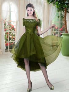 Noble Short Sleeves Tulle High Low Lace Up Club Wear in Olive Green with Lace