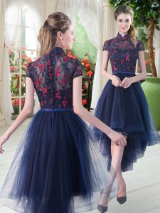 Chic Navy Blue A-line High-neck Short Sleeves Tulle High Low Zipper Lace Club Wear