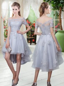 Popular Grey A-line Tulle Off The Shoulder Short Sleeves Appliques High Low Lace Up Cocktail Dresses