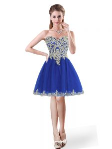 Royal Blue A-line Sweetheart Sleeveless Tulle Mini Length Lace Up Beading and Appliques Cocktail Dress