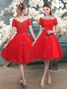 Suitable Red Short Sleeves Knee Length Lace Lace Up Club Wear