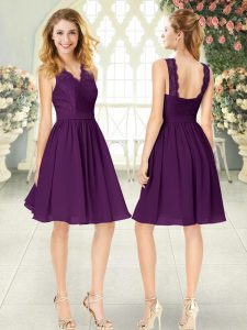 Enchanting Purple Sleeveless Chiffon Zipper Cocktail Dresses for Prom and Party
