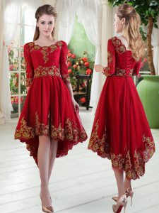 Excellent Wine Red Club Wear Prom with Embroidery Scoop Long Sleeves Lace Up