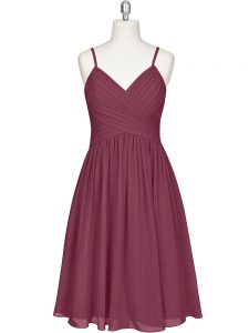 A-line Cocktail Dress Burgundy Spaghetti Straps Chiffon Sleeveless Knee Length Zipper