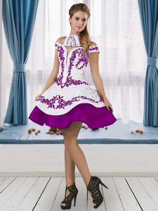 Knee Length Ball Gowns Sleeveless White And Purple Club Wear Lace Up