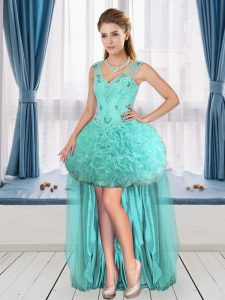 Fantastic Tulle and Fabric With Rolling Flowers Sleeveless High Low Cocktail Dresses and Beading