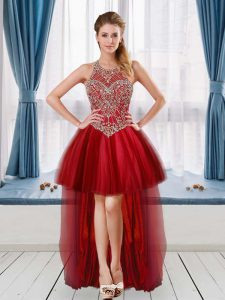 Fantastic Sleeveless High Low Beading Club Wear with Red