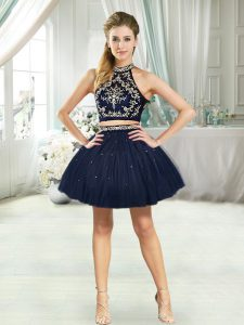 Custom Designed Navy Blue Two Pieces Beading Club Wear Sleeveless Mini Length