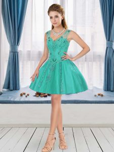 Latest V-neck Sleeveless Beading and Appliques Cocktail Dresses in Turquoise