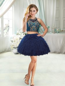 Latest Navy Blue Halter Top Beading and Ruffles Cocktail Dresses Sleeveless
