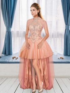 Delicate Peach Cocktail Dresses Beading Sleeveless High Low