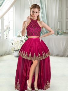 Fuchsia Two Pieces Halter Top Sleeveless High Low Beading and Appliques Cocktail Dress