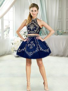 Discount Navy Blue Cocktail Dresses Sleeveless Mini Length Embroidery