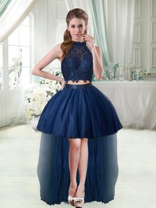 Colorful Sleeveless High Low Cocktail Dresses in Navy Blue with Lace