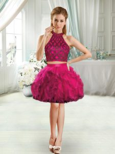 Graceful Fuchsia Two Pieces Beading and Ruffles Club Wear Sleeveless Mini Length