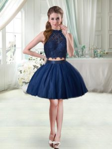 Custom Design Navy Blue Sleeveless Lace Mini Length Cocktail Dresses