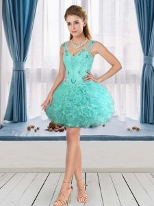 Edgy Beading Club Wear Aqua Blue Lace Up Sleeveless Mini Length