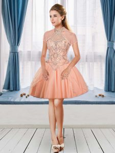 Glamorous Sleeveless Mini Length Beading Cocktail Dresses with Peach