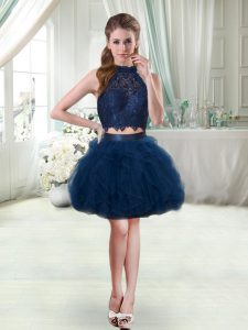 Glamorous Halter Top Sleeveless Lace and Ruffles Cocktail Dresses in Navy Blue
