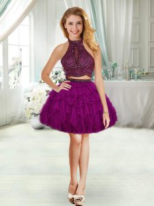 Amazing Purple Halter Top Beading Cocktail Dresses Sleeveless