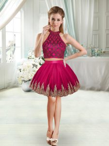 Fuchsia Two Pieces Beading and Appliques Club Wear Sleeveless Mini Length