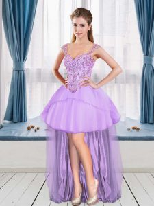 Lovely Beading Cocktail Dress Lavender Sleeveless High Low
