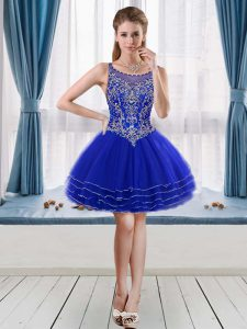 Edgy Sleeveless Mini Length Beading and Ruffled Layers Cocktail Dresses with Royal Blue