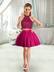 High Class Fuchsia Two Pieces Beading Club Wear Sleeveless Mini Length
