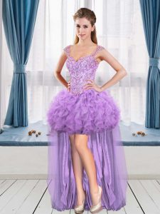 Lavender A-line Straps Sleeveless Beading and Ruffles High Low Club Wear