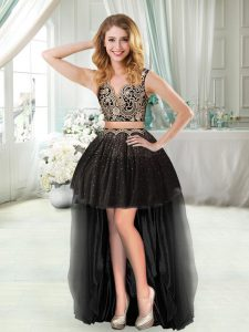 Cute Black Zipper V-neck Beading and Appliques Club Wear Tulle Sleeveless