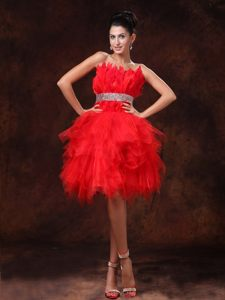 Red Strapless A-line Beaded Belt Feather Cocktail Dress in Warsaw