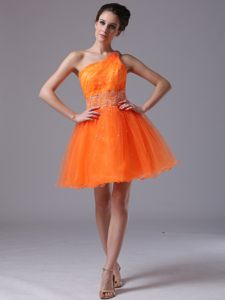 Orange Beaded One Shoulder Mini-length Cocktail Dresses in Aalst