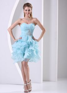 Aqua Blue Ruffles Ruched Sweetheart Cocktails Dresses in Geneva